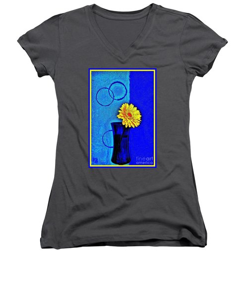 Women's V-Neck T-Shirt (Junior Cut) featuring the photograph Contemporary Gerber by Marsha Heiken