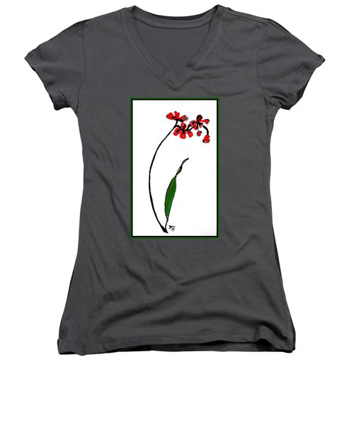 Women's V-Neck T-Shirt (Junior Cut) featuring the painting Contemporary Orchids by Marsha Heiken