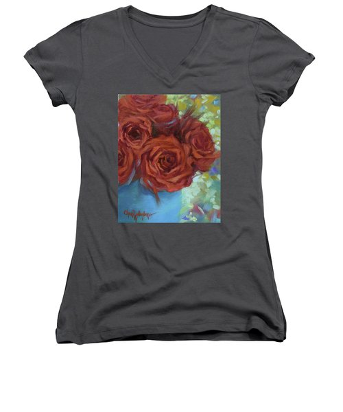 Contemporary Red Roses With Confetti Background Women's V-Neck (Athletic Fit)