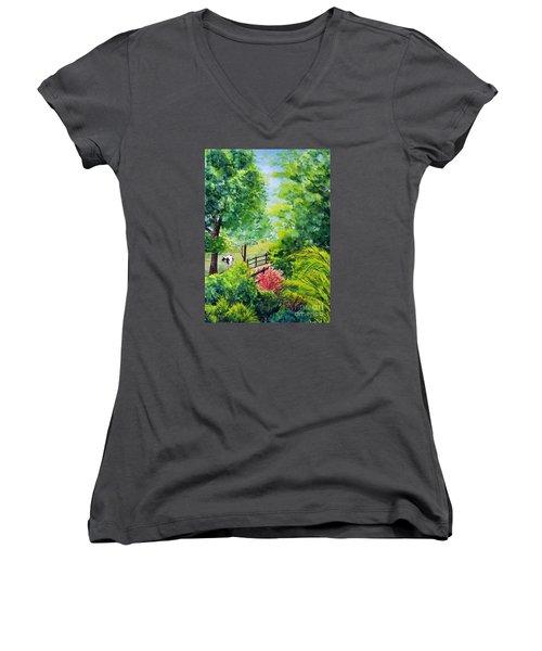 Contentment Women's V-Neck T-Shirt (Junior Cut) by Nancy Cupp