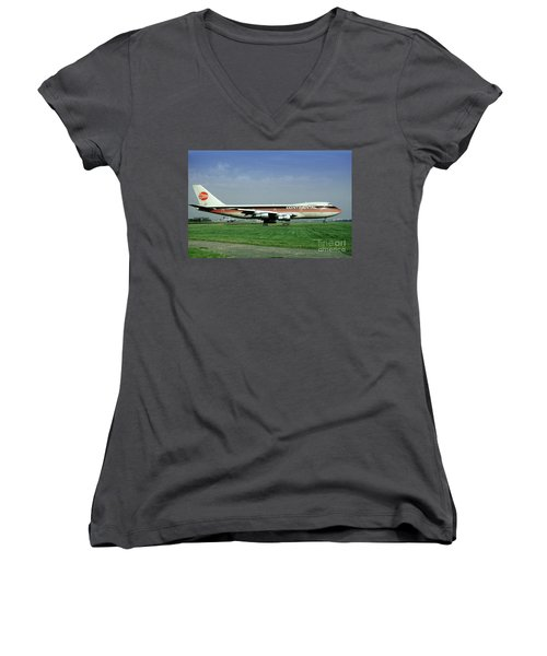 Continental Airlines Boeing 747-243b, N605pe, October 1988 Women's V-Neck (Athletic Fit)
