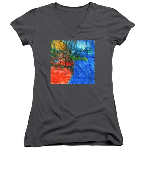 Continental Divide Women's V-Neck T-Shirt (Junior Cut) by Phil Strang