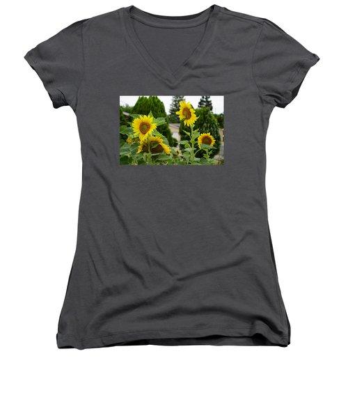 Conversing Sunflowers Women's V-Neck (Athletic Fit)
