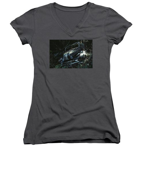 Women's V-Neck T-Shirt (Junior Cut) featuring the photograph Convertible by Laurie Stewart