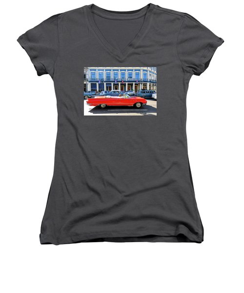 Convertible With Long Tailfins Women's V-Neck (Athletic Fit)