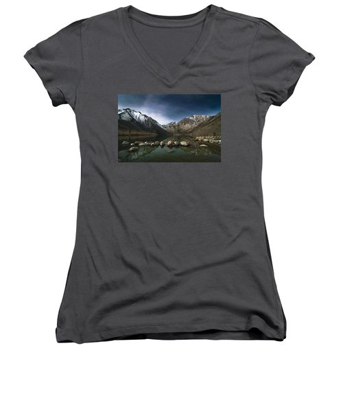 Convict Lake Women's V-Neck T-Shirt (Junior Cut) by Ralph Vazquez