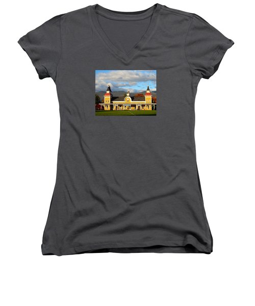 Women's V-Neck T-Shirt (Junior Cut) featuring the photograph Conway Scenic Railroad 1 by Nancy De Flon