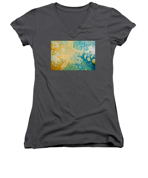 Cool Coral Women's V-Neck T-Shirt (Junior Cut) by Dina Dargo