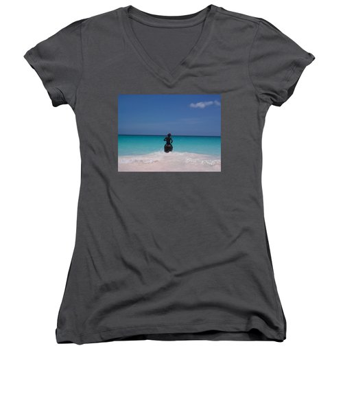 Women's V-Neck T-Shirt (Junior Cut) featuring the photograph Cool Off Man by Mary-Lee Sanders