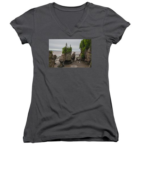 Cool Rocks Women's V-Neck T-Shirt (Junior Cut) by Will Burlingham
