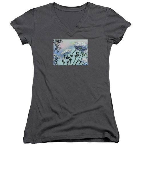 Cool White Spider Mums Women's V-Neck (Athletic Fit)