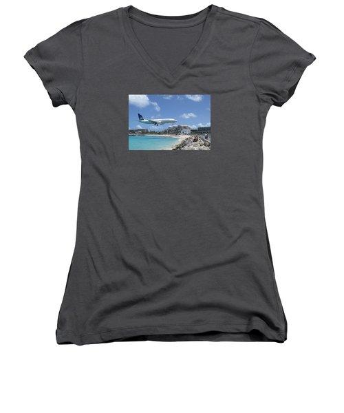 Copa 737 Princess Julianna Women's V-Neck T-Shirt (Junior Cut) by Christopher Kirby
