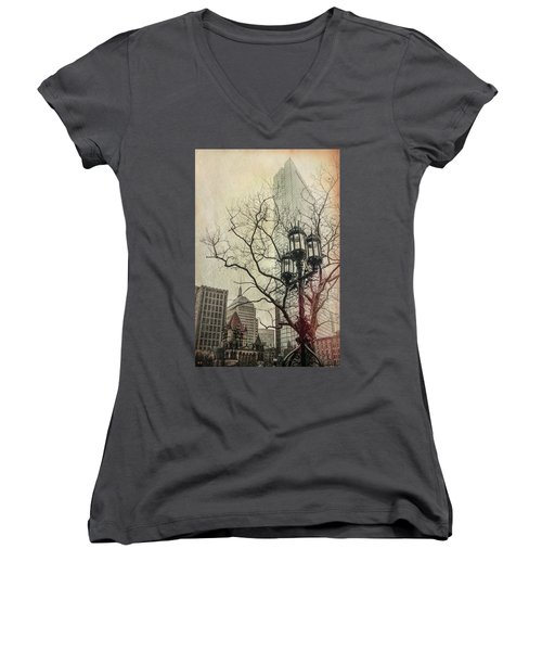 Women's V-Neck T-Shirt (Junior Cut) featuring the photograph Copley Square - Boston by Joann Vitali
