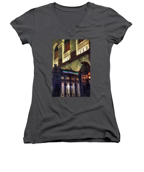 Women's V-Neck T-Shirt (Junior Cut) featuring the photograph Copley Square T Stop - Boston by Joann Vitali