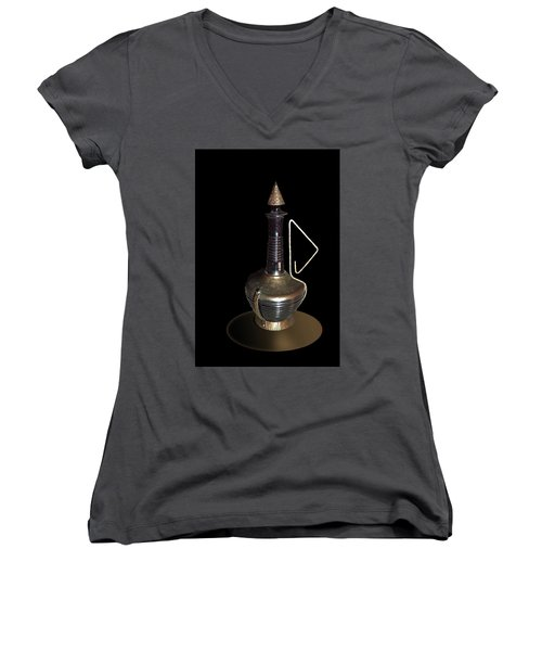 Copper And Black Wine Server Women's V-Neck T-Shirt (Junior Cut) by Judy Johnson