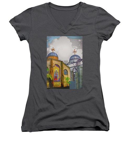 Coptic Church Rebirth Women's V-Neck T-Shirt (Junior Cut) by Joseph Hollingsworth