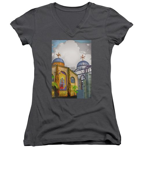 Coptic Church Rebirth Women's V-Neck T-Shirt