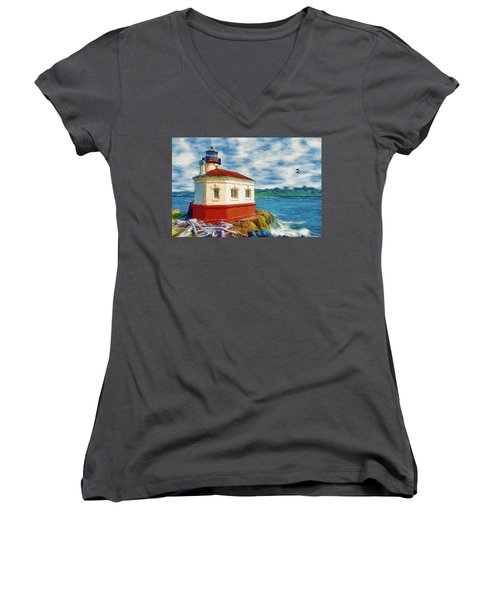 Coquille River Lighthouse Women's V-Neck T-Shirt (Junior Cut) by Jeff Kolker