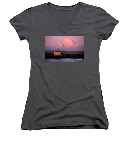 Coquille River Lighthouse Sunset Women's V-Neck T-Shirt