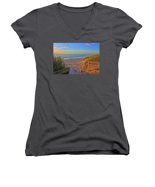 Coquina Beach By H H Photography Of Florida  Women's V-Neck T-Shirt