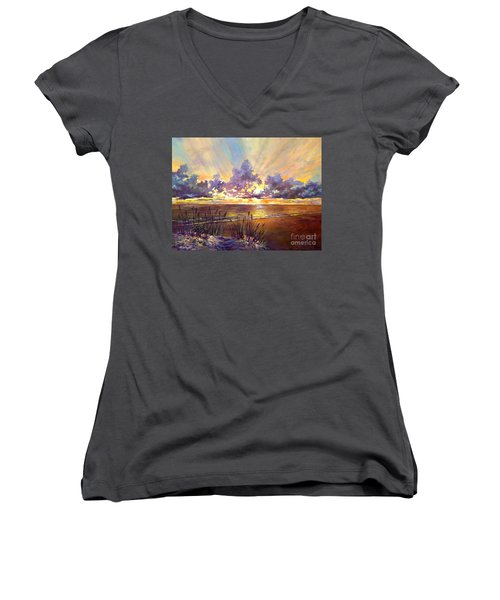 Coquina Beach Sunset Women's V-Neck T-Shirt (Junior Cut) by Lou Ann Bagnall