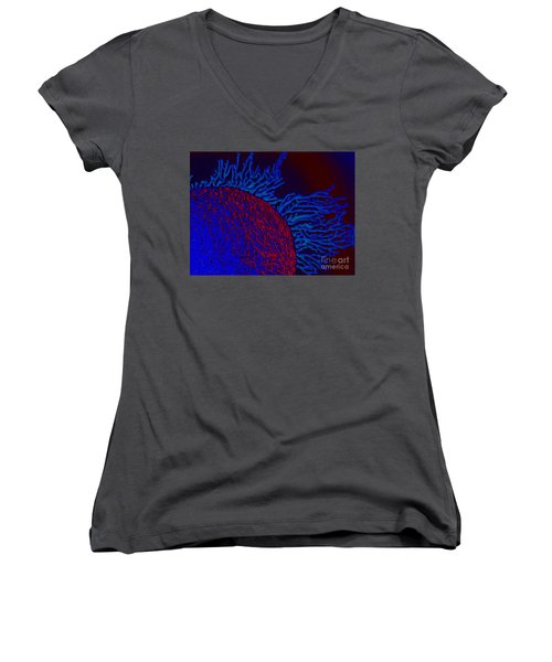 Women's V-Neck T-Shirt (Junior Cut) featuring the photograph Coral Study by Trena Mara
