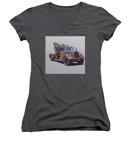 Women's V-Neck T-Shirt (Junior Cut) featuring the painting Corbyn Wrecker. by Mike  Jeffries