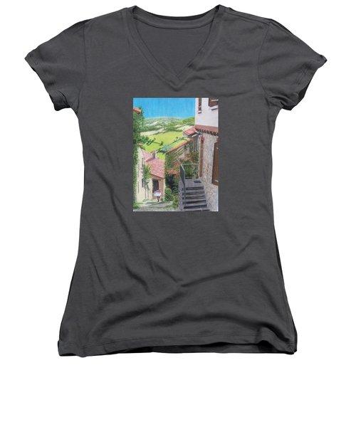 Women's V-Neck T-Shirt (Junior Cut) featuring the mixed media Cordes Sur Ciel 2 by Constance DRESCHER