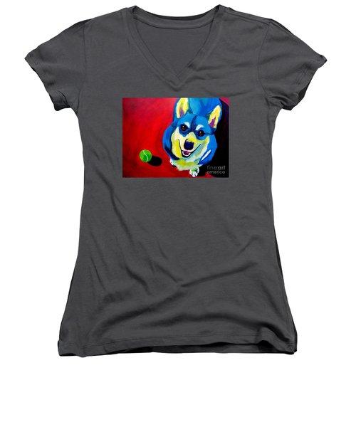 Corgi - Play Ball Women's V-Neck T-Shirt