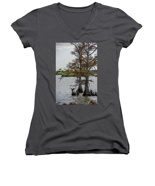 Women's V-Neck T-Shirt (Junior Cut) featuring the photograph Cormorant by Paul Freidlund
