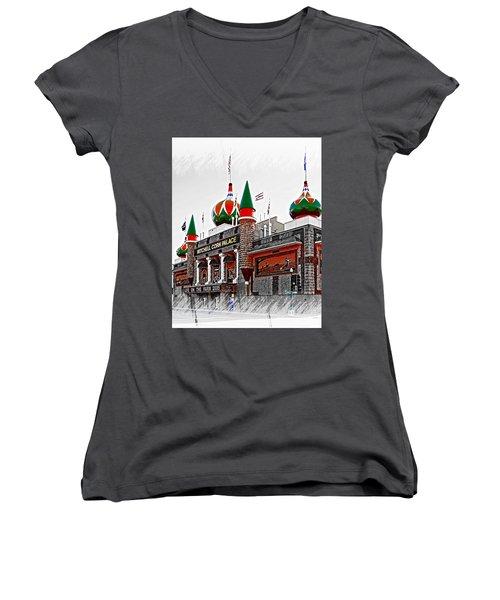 Corn Palace South Dakota Women's V-Neck T-Shirt (Junior Cut) by Bob Pardue