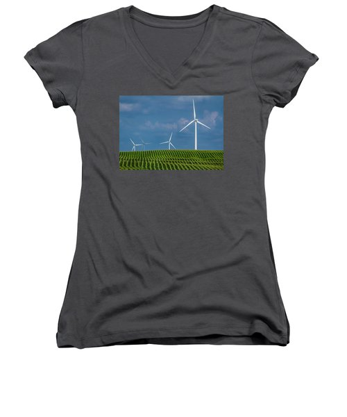 Corn Rows And Windmills Women's V-Neck T-Shirt