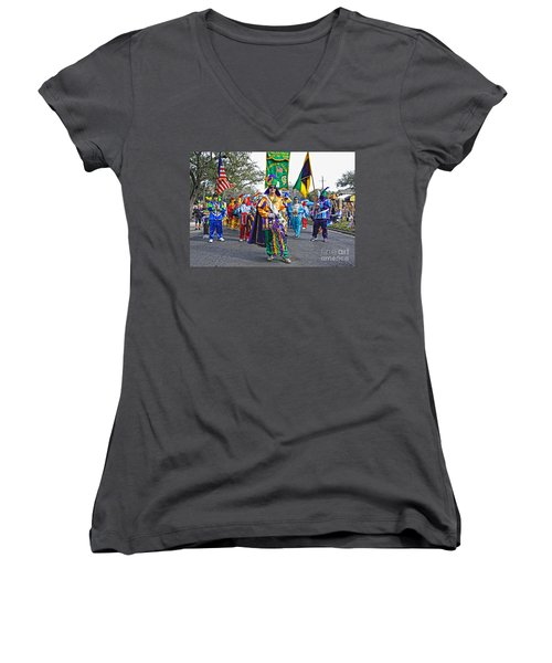 Corner Club 3 -mardi Gras New Orleans Women's V-Neck T-Shirt (Junior Cut) by Kathleen K Parker