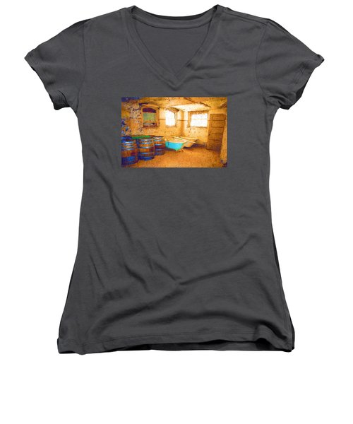 Women's V-Neck T-Shirt (Junior Cut) featuring the digital art Cornered by Holly Ethan