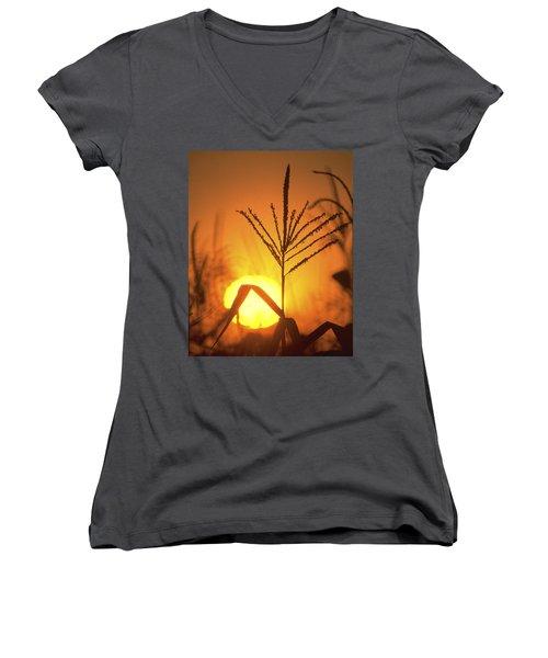 Cornfield Sunset Women's V-Neck T-Shirt