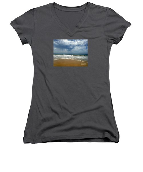 Corona Del Mar 1 Women's V-Neck T-Shirt (Junior Cut) by Cheryl Del Toro