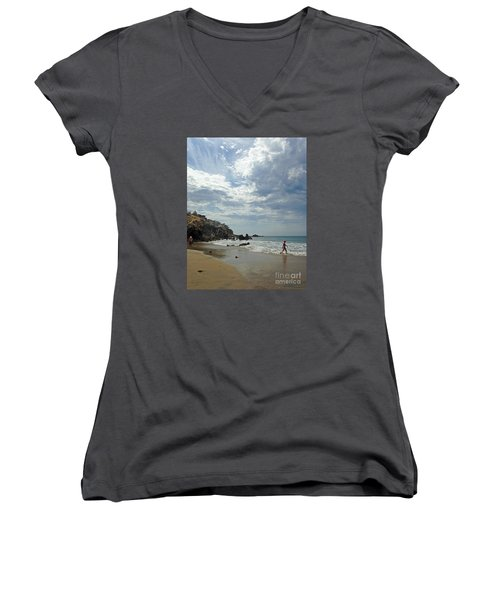 Corona Del Mar 3 Women's V-Neck T-Shirt (Junior Cut) by Cheryl Del Toro