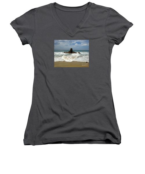 Corona Del Mar 4 Women's V-Neck T-Shirt (Junior Cut) by Cheryl Del Toro