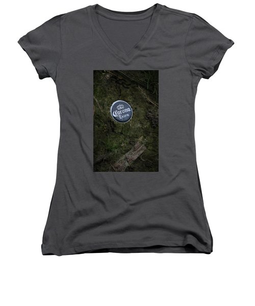 Women's V-Neck T-Shirt (Junior Cut) featuring the photograph Corona Extra by Ray Congrove