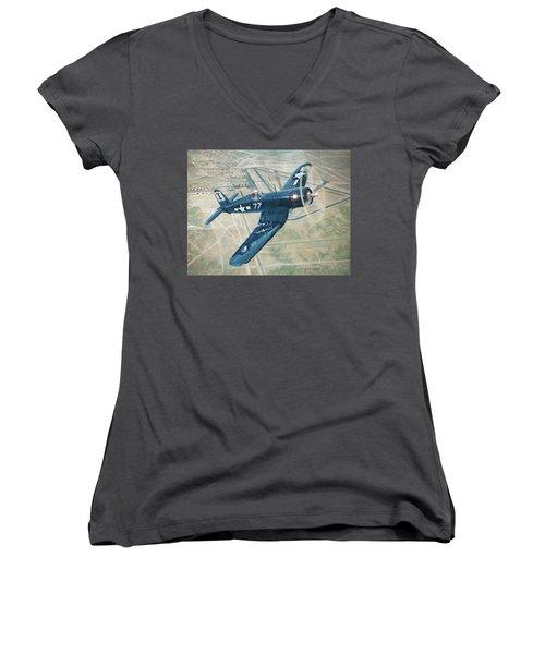 Corsair Over Mojave Women's V-Neck T-Shirt (Junior Cut) by Douglas Castleman
