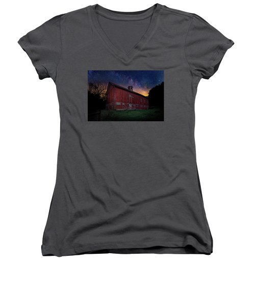 Women's V-Neck T-Shirt (Junior Cut) featuring the photograph Cosmic Barn by Bill Wakeley