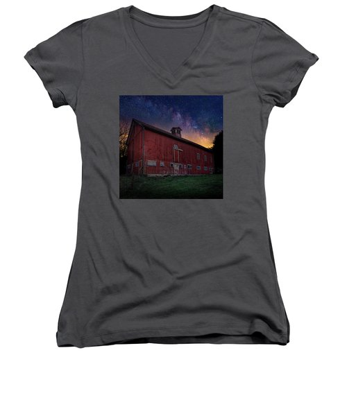 Women's V-Neck T-Shirt (Junior Cut) featuring the photograph Cosmic Barn Square by Bill Wakeley