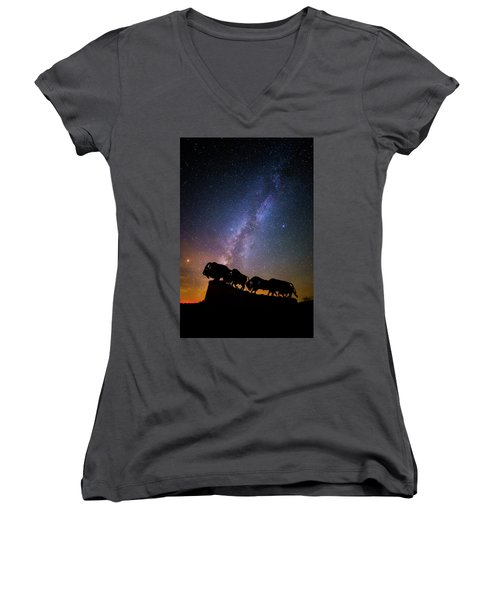 Women's V-Neck T-Shirt (Junior Cut) featuring the photograph Cosmic Caprock Bison by Stephen Stookey