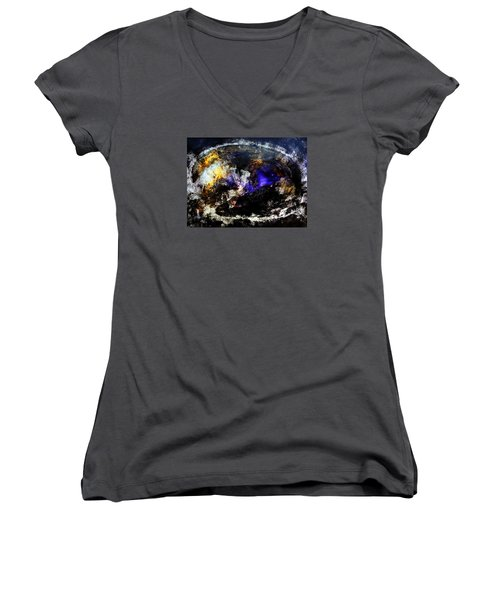 Cosmic Dream  45x60 Prints Modern Paintings Abstract Art Original Women's V-Neck (Athletic Fit)