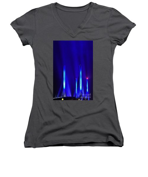 Blue Light Rays - Indian River Inlet Bridge Women's V-Neck