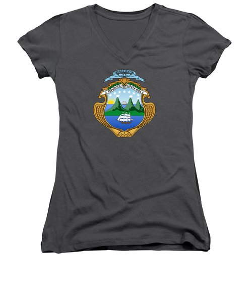 Women's V-Neck T-Shirt (Junior Cut) featuring the drawing Costa Rica Coat Of Arms by Movie Poster Prints
