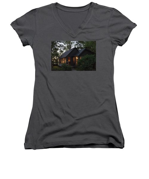 Women's V-Neck T-Shirt featuring the photograph Cosy Cabin In The Woods by Gary Eason