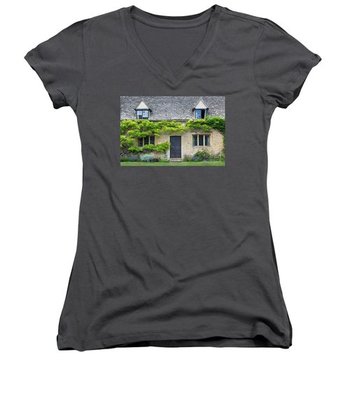 Women's V-Neck T-Shirt (Junior Cut) featuring the photograph Cotswolds Cottage Home II by Brian Jannsen