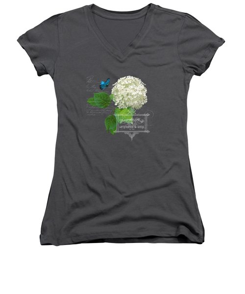 Women's V-Neck T-Shirt (Junior Cut) featuring the painting Cottage Garden White Hydrangea With Blue Butterfly by Audrey Jeanne Roberts
