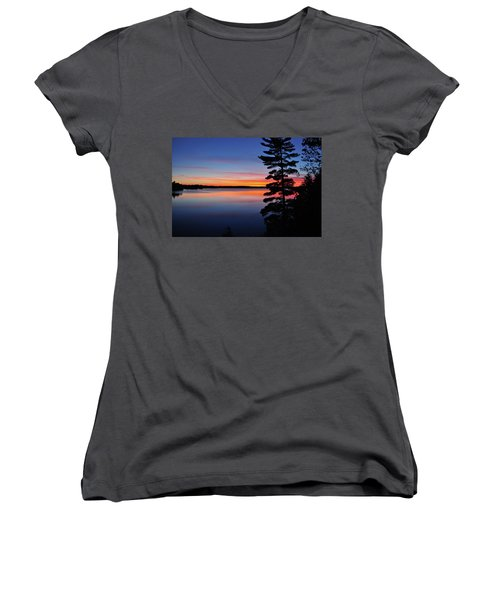 Cottage Sunset Women's V-Neck T-Shirt (Junior Cut) by Keith Armstrong